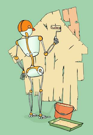 male robot painting wall Vector
