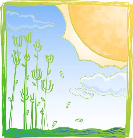 hand draw of sun in summer Stock Vector - 12479795