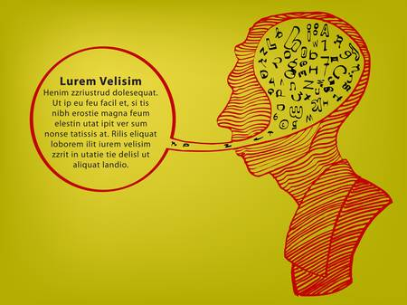 hand draw of head speaking with text Vector