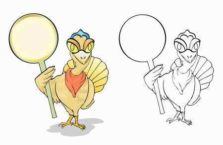 turkey holding blank circle plank