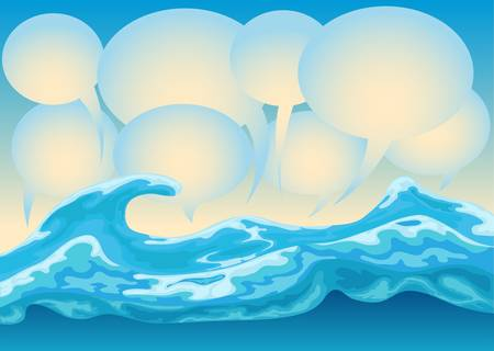 ocean wave with bubble text