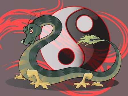 dragon with yin yang symbol Vector