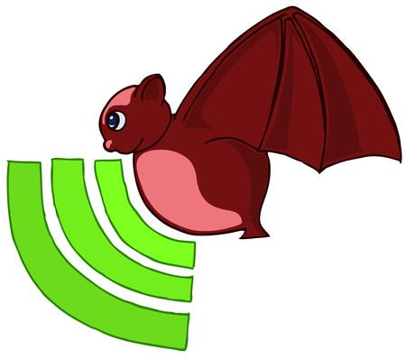 bat flaying with signal icon Stock Vector - 13224126