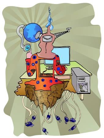 programer: programer in front of desk top surealist style