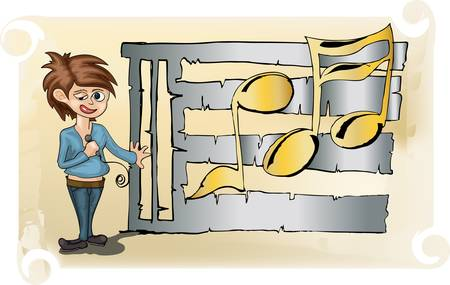 young man standing: young man standing infront of metal partiture  Illustration