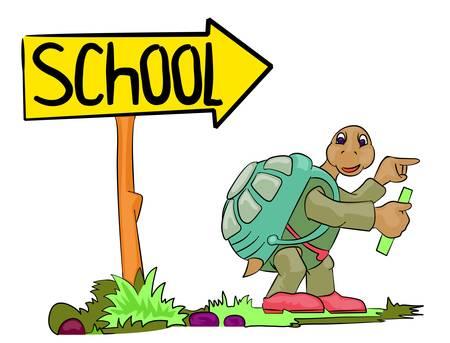 turtle go to school Vector