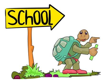 old people reading: turtle go to school