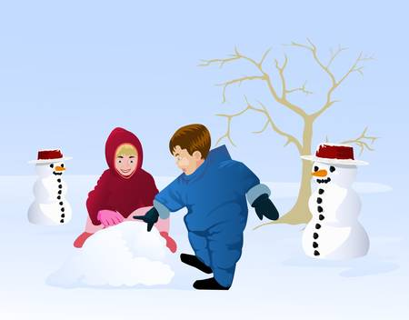 children playing snow doll Vector