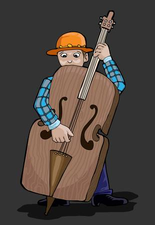 country musician contra bass player Stock Vector - 13458847