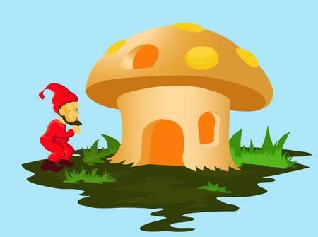 champignon magique: nain et la maison aux champignons Illustration