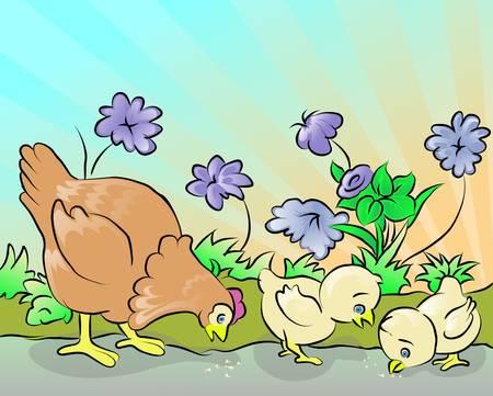 hen and twoo chicken Vector