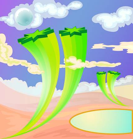 desert background with oase Vector