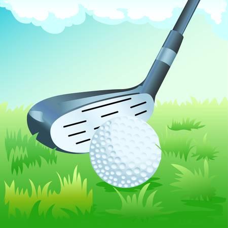 golf stick: palo y la pelota de golf