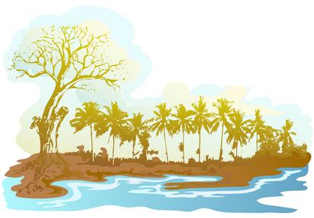 dry tree over the sea Stock Vector - 13441407