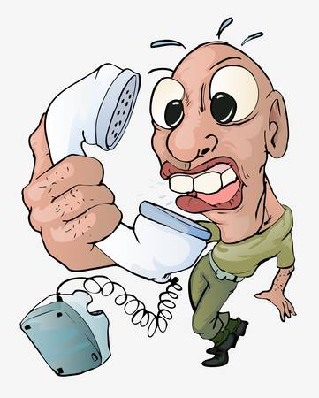 man angry on telephone Stock Vector - 13441200