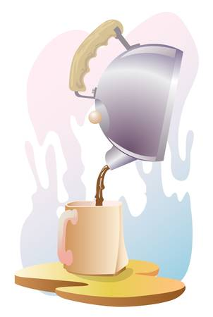 can pouring coffee to the cup Stock Vector - 13441124