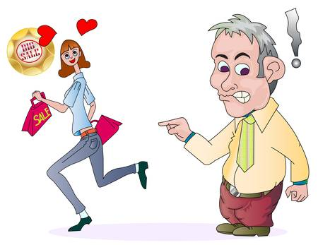 marido y mujer: marido y mujer enojada adicta a las compras