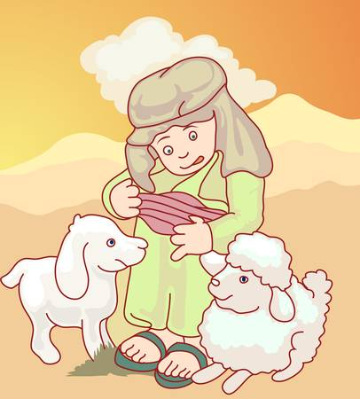 arab boy with goat Vector