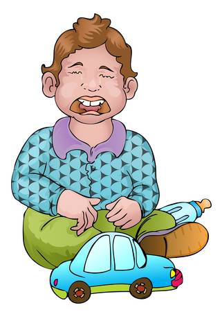 boy crying and his car toy Stock Vector - 13577663
