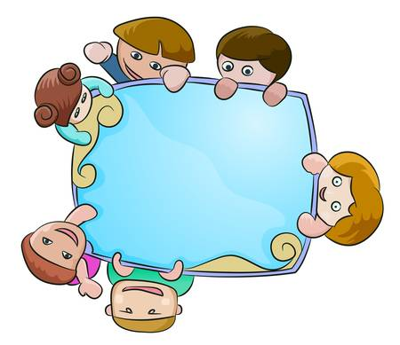 teenagers laughing: six children holding blue shiny blank blue board Illustration