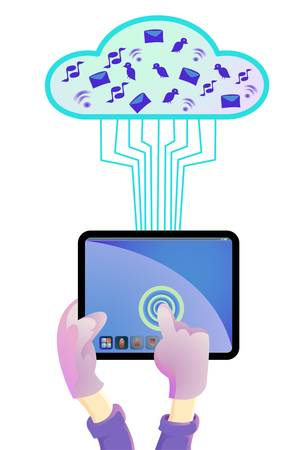 hand tabing tablet pc to cloud system Vector