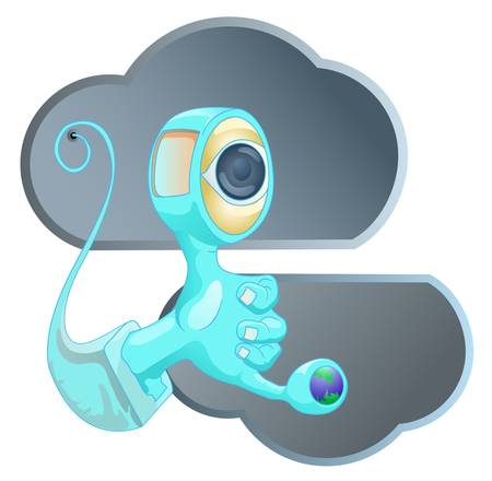 hand with eye and cloud icon