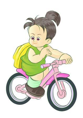 girl riding bike go to school Stock Vector - 13510093