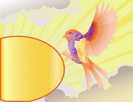 bird with golden label Stock Vector - 13510101