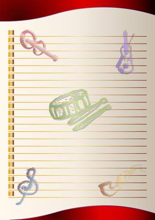 paper with music instrument background Illustration