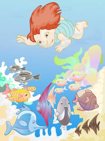 free diver: boy diving with various fishes Illustration