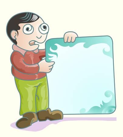 man holding ornamented blank plank Illustration