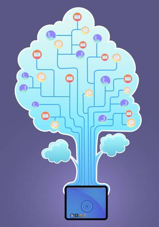 tablet pc with social media tree Vector