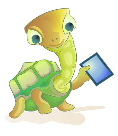 turtle holding tablet pc Stock Vector - 13458854