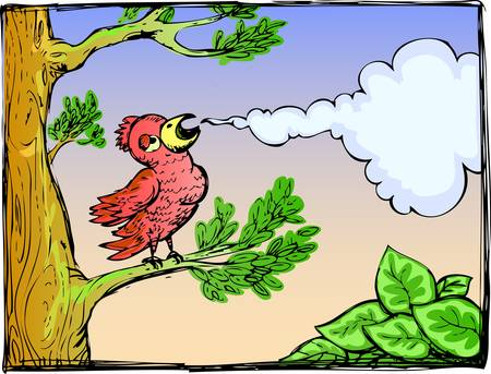 red birds chirping on branch Stock Vector - 13510105