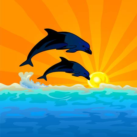 dolphin silhouette: dolphin jump with sunset background