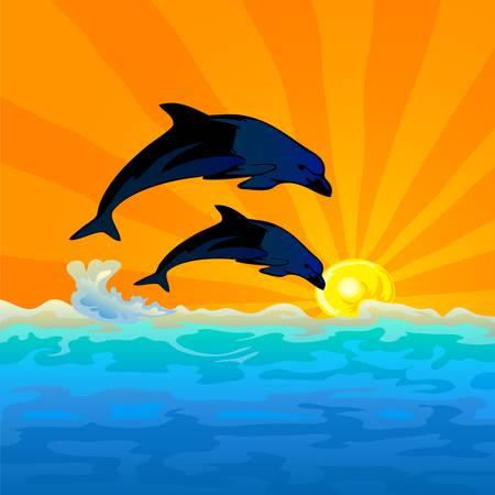 salto de delfín con el atardecer de fondo