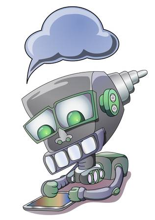 illustration of robot holding tablet PC, isolated in white
