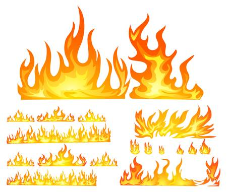 fire isolated in white Vector