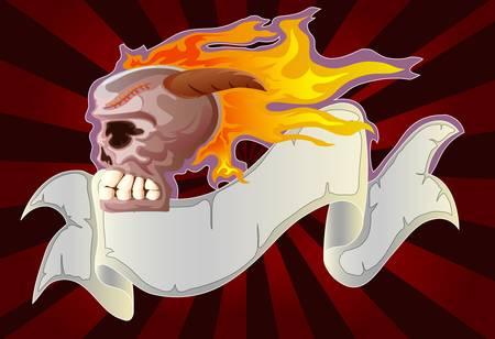 ribon: burned skull and grunge ribon Illustration