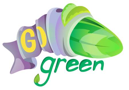 leafes tight by ribbon with text go green Illustration