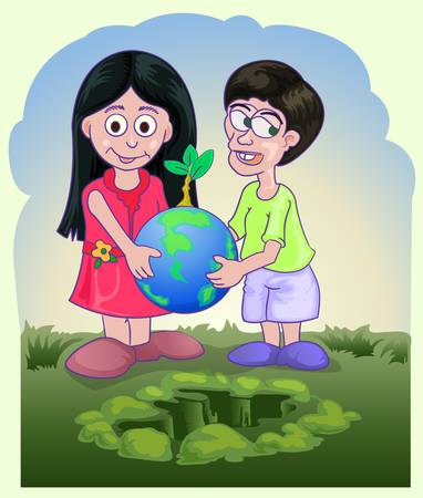 couple children holding globe with small plant