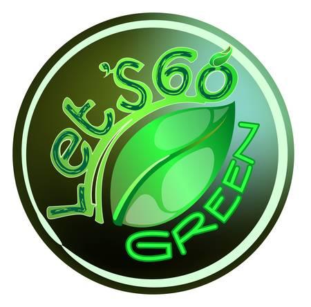 template of go green sticker label Vector