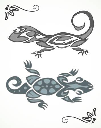 illustration of lizard tribal ornament Vector