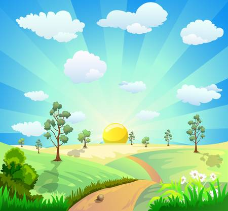 cartoon illustration of landscape with shiny sun