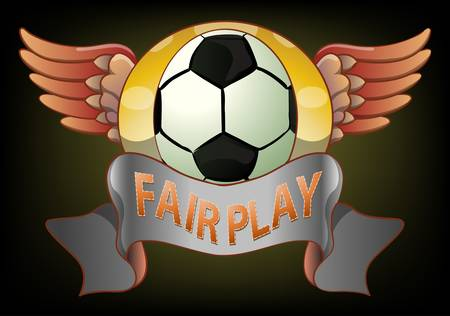 fair play: football fair play badge on green dark background