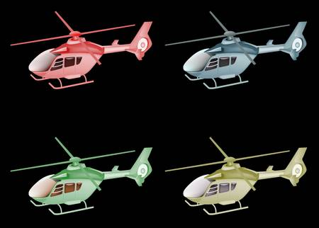 four color helicopter isolated on black