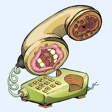 mouthpiece: hand draw of old telephone isolated on blue