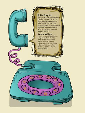 hand draw of old telephone with space for text Stock Vector - 13981100