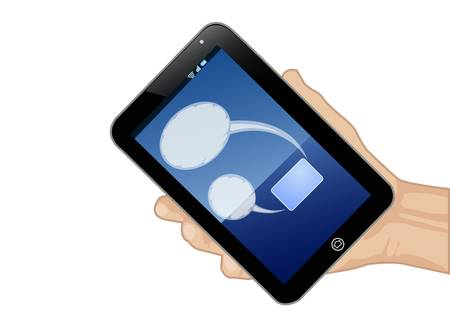 tablet pc in hand: hand holding tablet pc with bubble text isolated on white Illustration