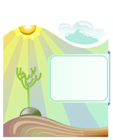 cactus on desert on sunny day with blank space for text Vector